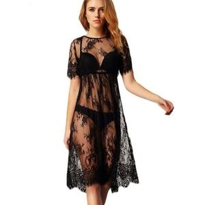 Other - Black lace short sleeved cover up